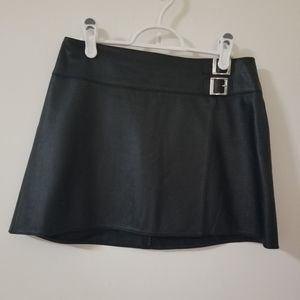 ALLURE Black Leather Miniskirt
